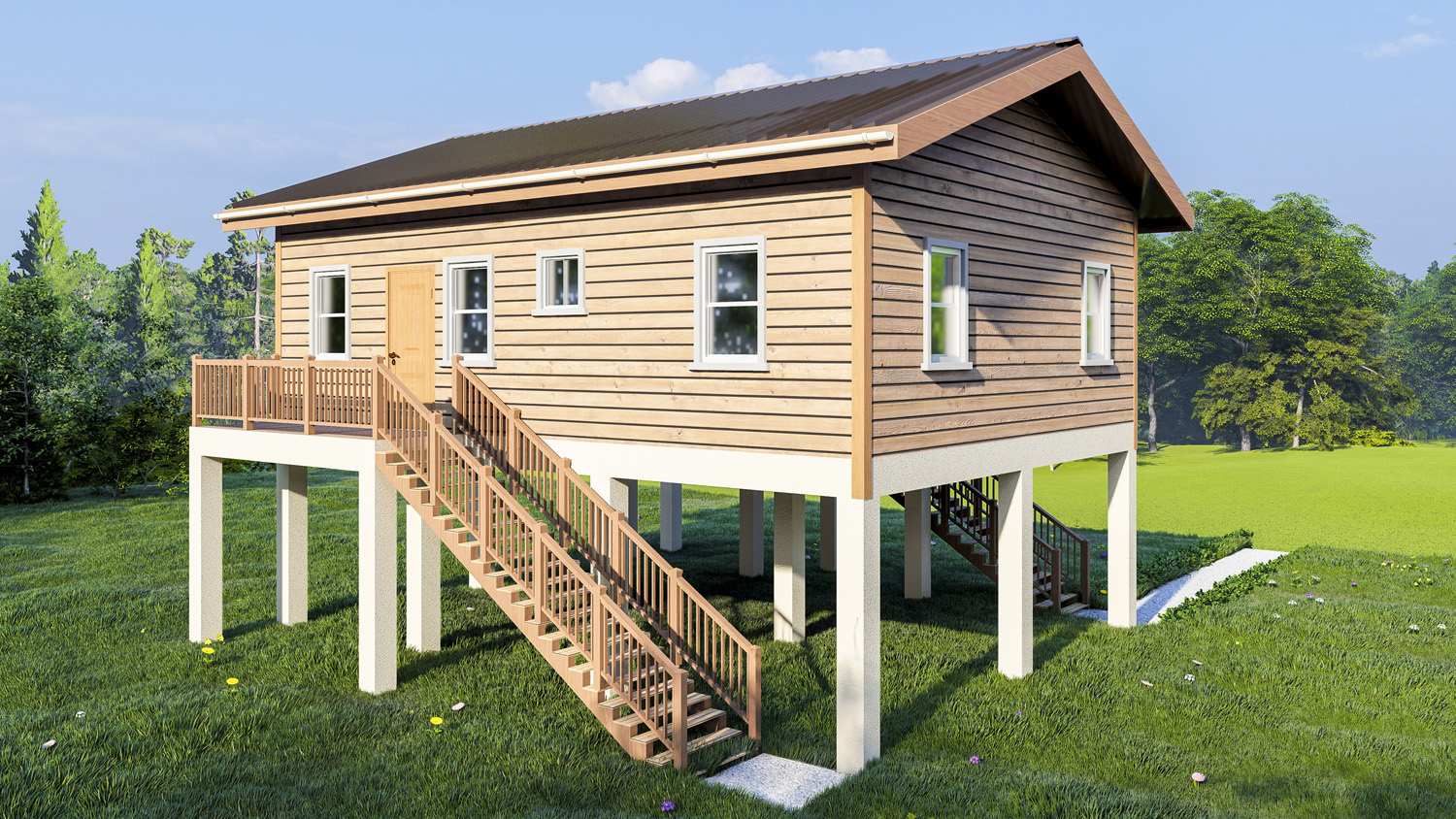 DFC 3 bedroom elevated wooden home